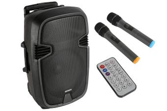 "Sonken PAC12BD 12"" Active Portable PA Speaker Karaoke 2x Wireless Microphone"