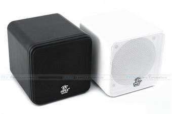 """Pyle PCB4BK 4"""" Mini Cube Bookshelf Speaker PCB4WT  White"""