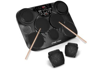 Pyle Electronic Table Top Drum Kit 7 Drum Pads w/ Touch Sensitivity