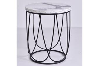 Lencia Bedside Table - Bianco Marble