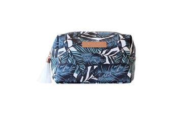 Saffiano Rectangle Boxy Cosmetic Bag-Atoll