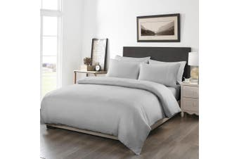 Royal Comfort 1200TC Fitted Sheet Quilt Cover and Pillowcase Combo Set UltraSoft - King - Silver Grey