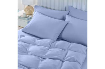 Royal Comfort 2000TC 6 Piece Bamboo Sheet & Quilt Cover Set Cooling Breathable - Queen - Light Blue