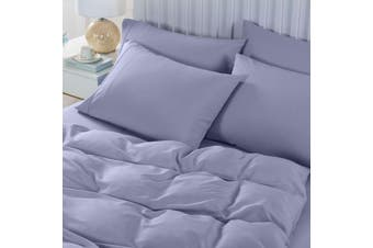 Royal Comfort 2000TC 6 Piece Bamboo Sheet & Quilt Cover Set Cooling Breathable - King - Lilac Grey