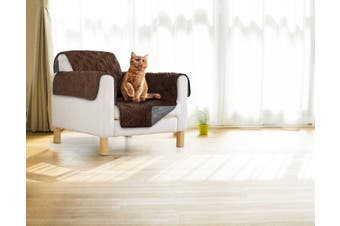 Sprint Industries Reversible Slipover Pet Couch Sofa Cover Protector Armchair - Single Chair - Chocolate  Charcoal