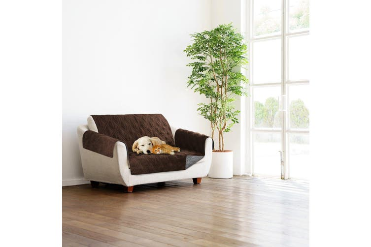 Sprint Industries Reversible Slipover Pet Couch Sofa Cover Protector Armchair - Love Seat - Chocolate  Charcoal