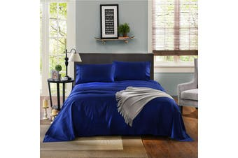 Kensington 1200 Thread Count 100% Egyptian Cotton Sheet Set Stripe Hotel Grade - Double - Indigo