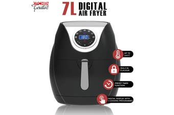 Kitchen Couture Digital Air Fryer 7L LED Display Low Fat Healthy Oil Free Black