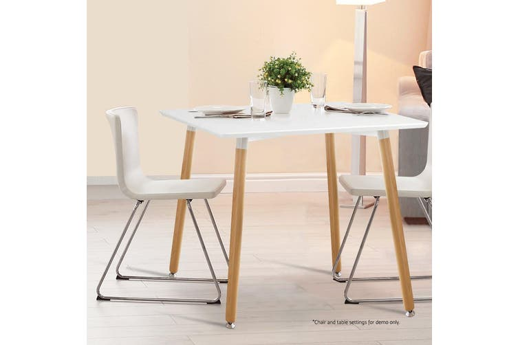 Artiss Square Dining Table 4 Seater 80cm White Replica Eames Dsw Cafe Kitchen Retro Timber Wood Mdf Tables Matt Blatt