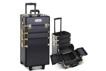 Embellir 7 in 1 Portable Cosmetic Beauty Makeup Trolley - Black & Gold