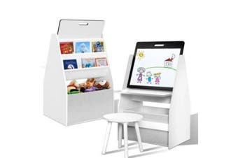 Bookcase and Whiteboard Easel Storage System