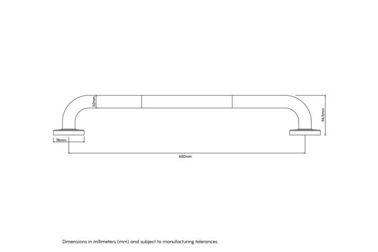 Evekare Grab Rail 600mm Gunmetal