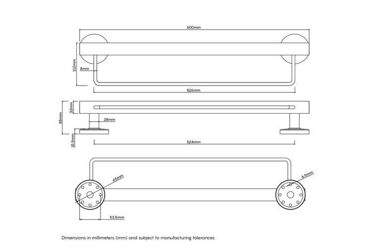 Evekare Towel Rail Grab Rail 600mm Gunmetal