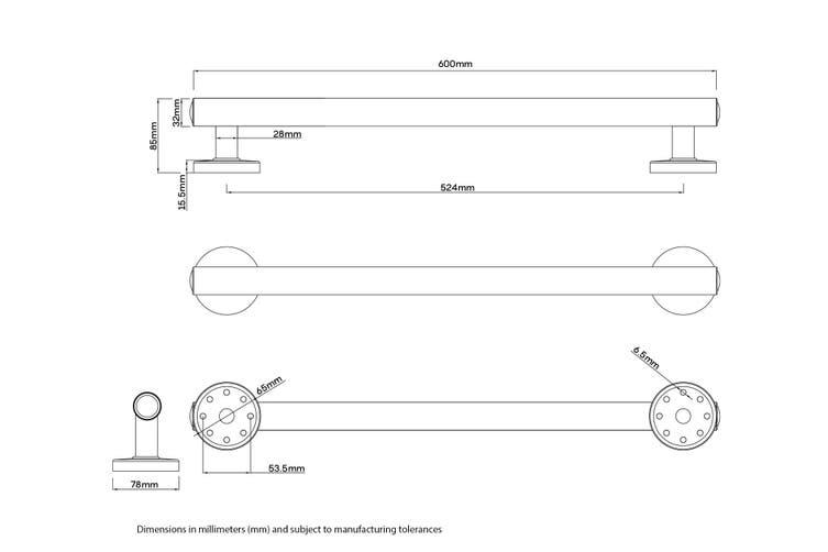 Evekare LED Grab Rail S/S 600mm