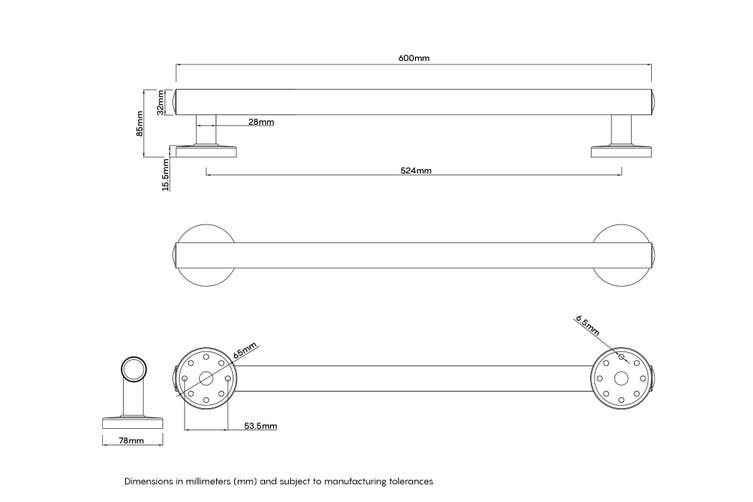 Evekare LED Night Light Grab Rail 600mm Gunmetal