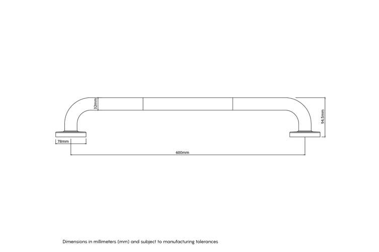 Evekare Skin Touch Grab Rail 600mm SS Matte Black
