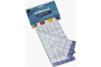 E-Cloth Tea Towel Blue Check