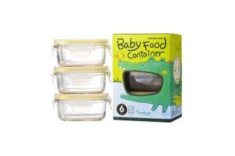 Glasslock Baby Food Container Set 3pc Rectangular 150ml