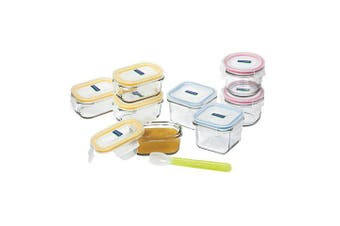 Glasslock Baby Food Container Set 9pc with Silicone Spoon