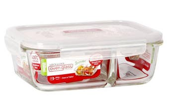 Lock & Lock Boroseal Heat Resistant Glass Rectangular with Divider 950ml