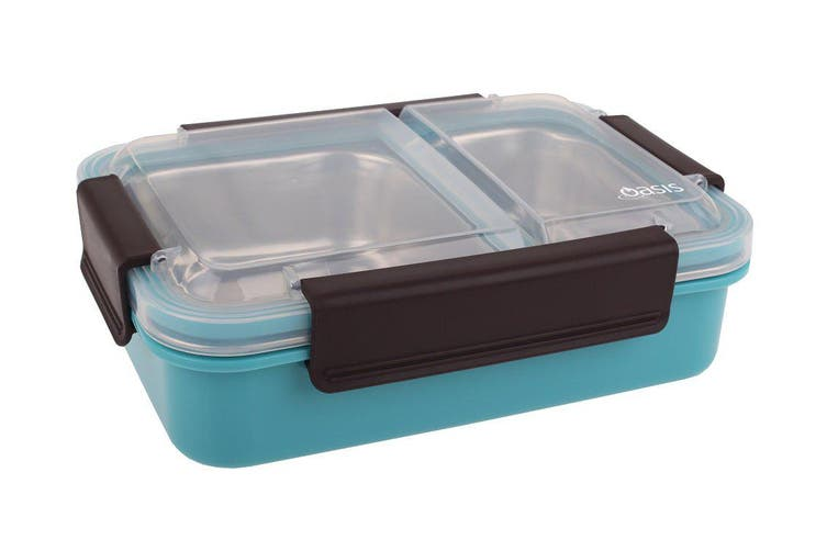 Oasis Stainless Steel 2 Compartment Lunch Box 23cm Turquoise