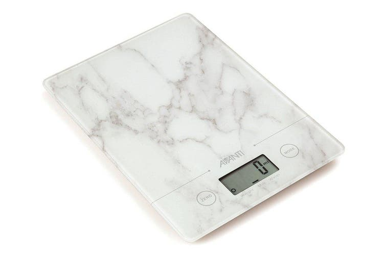 Avanti Compact Digital Kitchen Scale White Marble