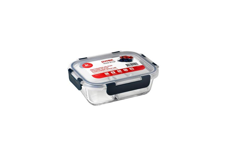 Pyrex Meal Prep Rectangular Duo Divided Lunch Box 600ml