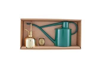 Haws Classic Green Watering Can 1L & Brass Mist 300ml Set Gift Box