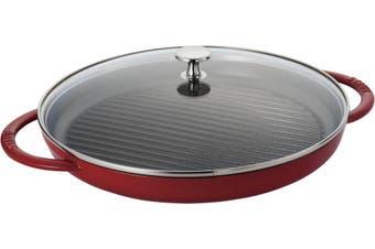 Staub Steam Grill Cast Iron with Glass Lid Cherry 30cm