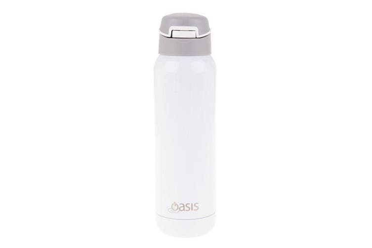 Oasis Stainless Steel Insulated Sports Bottle with Straw 500ml White