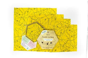 Buzzee Organic Beeswax Wraps Busy Bees Set of 4