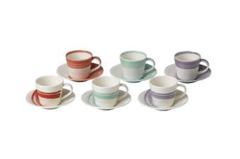 Royal Doulton 1815 Bold Collection Espresso Cup & Saucer Set of 6 Gift Boxed