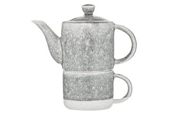 Leaf & Bean Capri Reactive Glaze Tea For One Teapot 400ml & Teacup 250ml