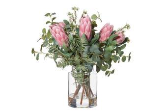 Rogue Protea Mix Pail Vase 48cm Pink Glass