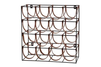 Academy Orwell 16 Bottles Iron and Leather Wine Rack 42.5x19x42cm