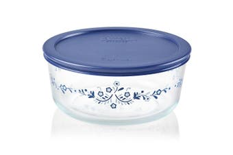 Pyrex Simply Store 7 Cup Round Prairie Garden with Blue Lid