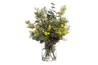 Rogue Wattle Gum Nut Mix Pail Vase 44cm x 34cm x 51cm Yellow