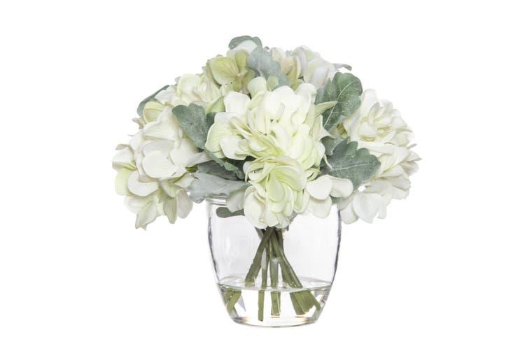 Rogue Hydrangea Bouquet Glass Pot 22cm x 20cm x 21cm White