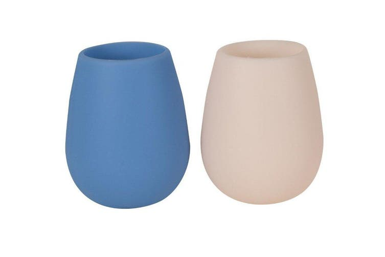 Porter Green Fegg Glass 350ml Taupe and Dark Blue Set of 2