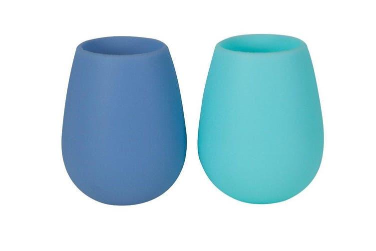 Porter Green Fegg Glass 350ml Aqua and Blue Set of 2