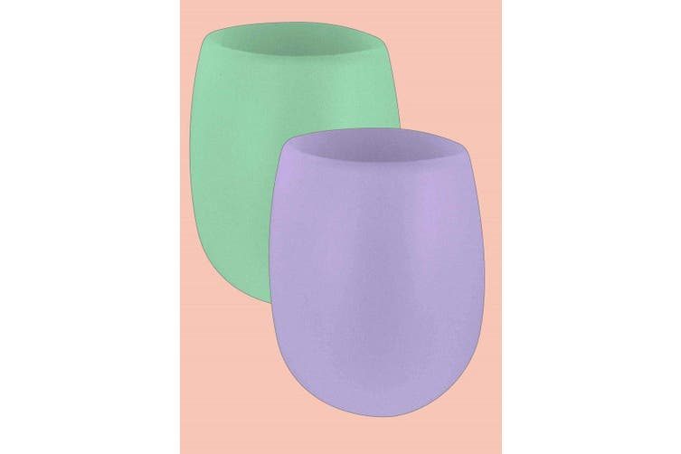 Porter Green Fegg Glass 350ml Mint and Lilac Set of 2