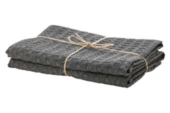 Ladelle Eco Recycled Charcoal Kitchen Towel Set of 2