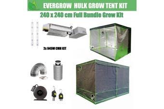 EverGrow Hulk Series 2.4x2.4m Dual CMH 945W Hydroponic Grow Tent Full Bundle Kit - 3100K
