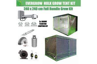 EverGrow Hulk Series 2.4x2.4m Dual Flexstar 1000W HPS/MH Hydroponic Grow Tent Full Bundle Kit