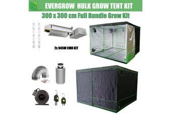 EverGrow Hulk Series 3x3m Dual CMH 945W Hydroponic Grow Tent Full Bundle Kit - 3100K