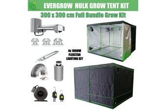 EverGrow Hulk Series 3x3m Quad Flexstar 1000W HPS/MH Hydroponic Grow Tent Full Bundle Kit - MH