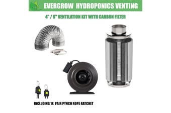 "EverGrow Ventilation Bundle Kit Including Inline Fan Carbon Filter and Duct - 6"" 150mm"