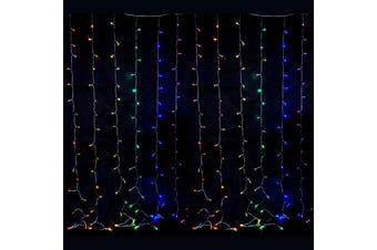 2.5x2.5m 360 LED Rainbow Colour Curtain Lights Indoor/Outdoor