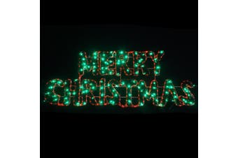 Christmas LED Motif Tinsel Stuffed Merry Christmas 162x63cm Green Edition
