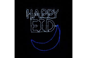 Ramadan Decoration Happy Mubarak Eid Hilal Crescent LED Lights Mosque Masjid